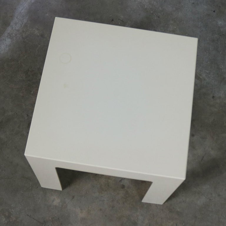 Pair of Plastic Parsons Side Tables White Style Kartell or Syroco, Midcentury For Sale 6