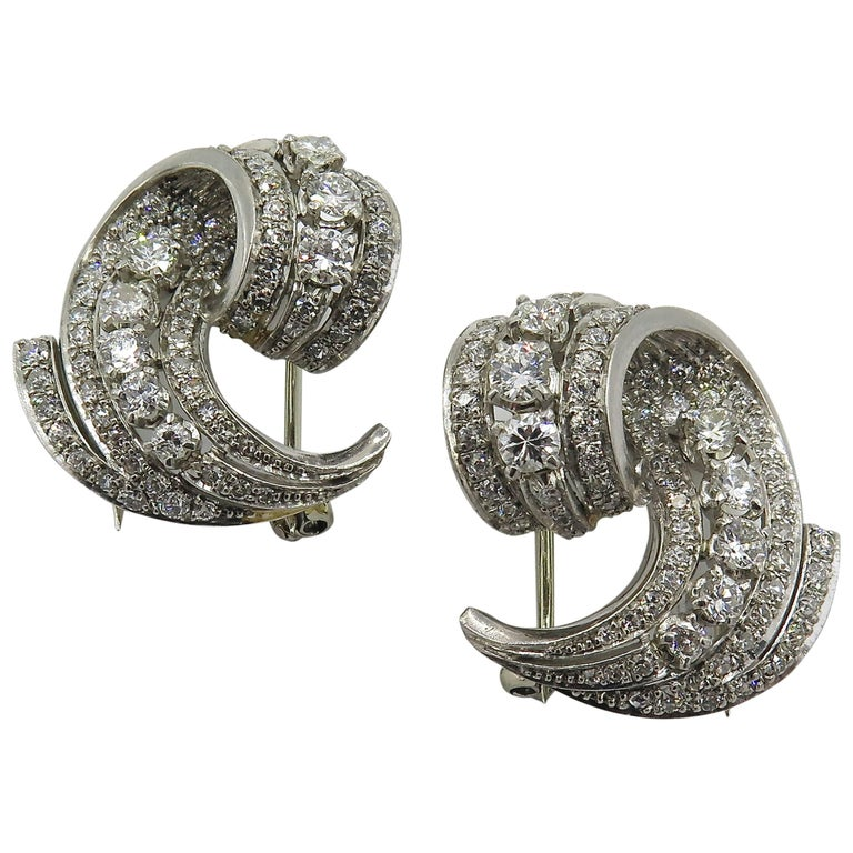 Pair of Platinum and Diamond Brooches For Sale
