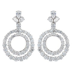 Pair of Platinum and Diamond Double Loop Earrings by Graff