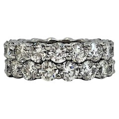 Pair of Platinum Common Prong Eternity Bands 8.70 Carat Total Weight
