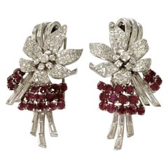 Pair of Platinum Diamond and Ruby Clip Brooches, circa 1950
