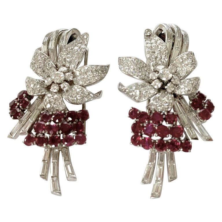 Pair of Platinum Diamond and Ruby Clip Brooches, circa 1950 For Sale