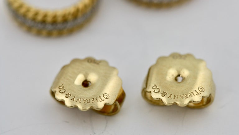 Pair of Platinum, Gold and Diamond Earrings Schlumberger for Tiffany & Co. In Good Condition For Sale In Palm Beach, FL