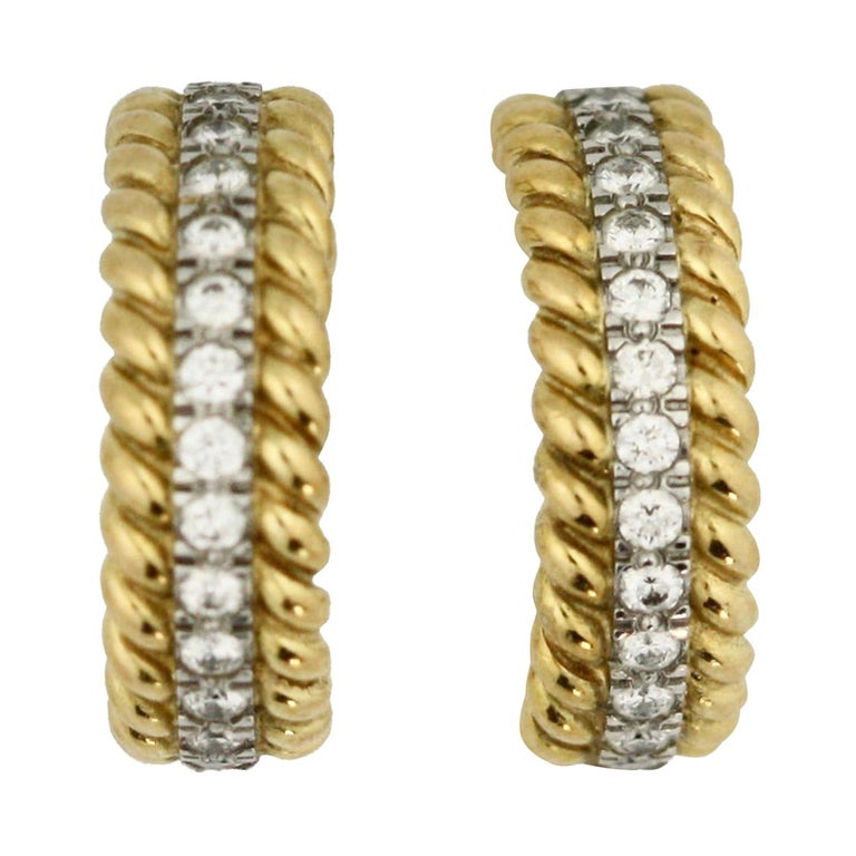 Pair of Platinum, Gold and Diamond Earrings Schlumberger for Tiffany & Co. For Sale