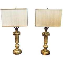 Pair of Plume Decorated Hollywood Regency Silvered Lamps Manner of Maison Jansen