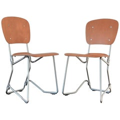 Pair of Plywood and Aluminum Stackable Chairs by Armin Wirth, 1950s