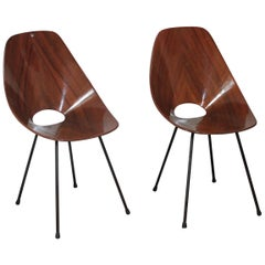 Pair of Plywood Vittorio Nobili 'MEDEA' Tagliabue Chairs, Italy, 1955