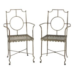 Pair of Poillerat Style Wrought Iron Garden Chairs