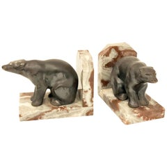 Pair of Polar Bear Antique Cast Metal and Marble Bookends