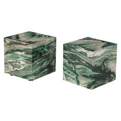 Pair of Polar Verde Marble Cubes or Side Tables