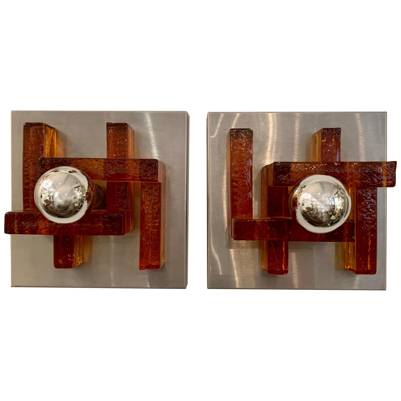 Pair of Poliarte Italian Murano Glass 1960s Wall Lights