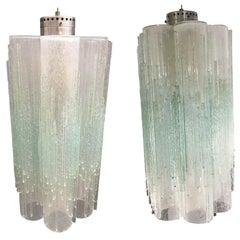 Pair of Poliarte Murano Glass Globula Pendants, 1970s