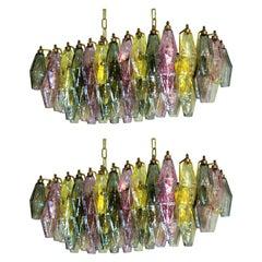 Pair of Poliedri Candeliers, 84 Multicolored Glasses, Murano