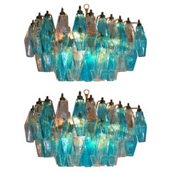 Pair of Poliedri Candeliers Carlo Scarpa Style, 56 Glasses, Murano