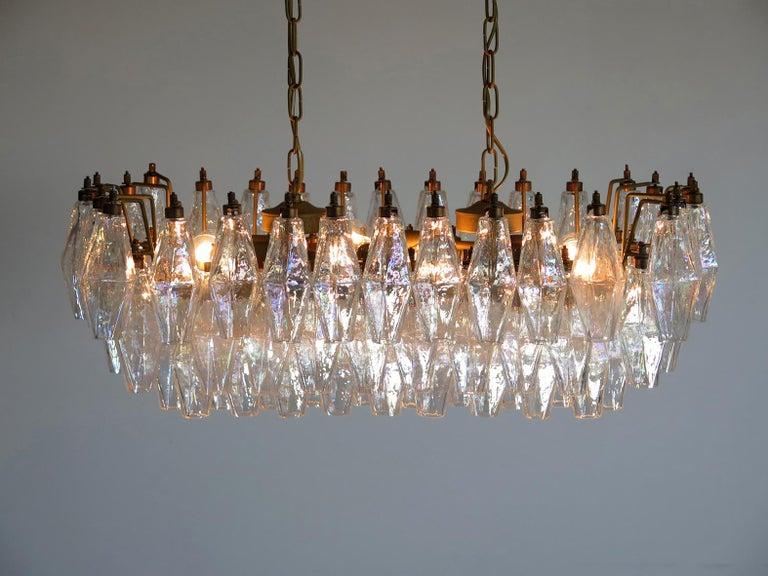 Elegant Italian chandelier made from 84 beautiful Murano iridescent glasses
