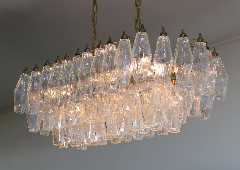 Pair of Poliedri Chandeliers Carlo Scarpa Style, Murano In Excellent Condition In Budapest, HU