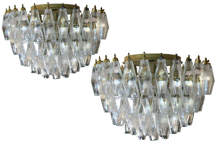 Pair of Italian ceiling lights each made from 84 beautiful Murano transparent glasses