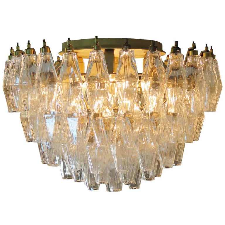 Late 20th Century Pair of Poliedri Chandeliers, Murano For Sale