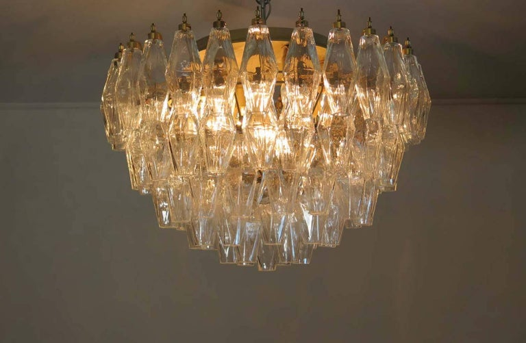 Pair of Poliedri Chandeliers, Murano For Sale 3