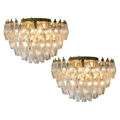 Pair of Poliedri Chandeliers, Murano
