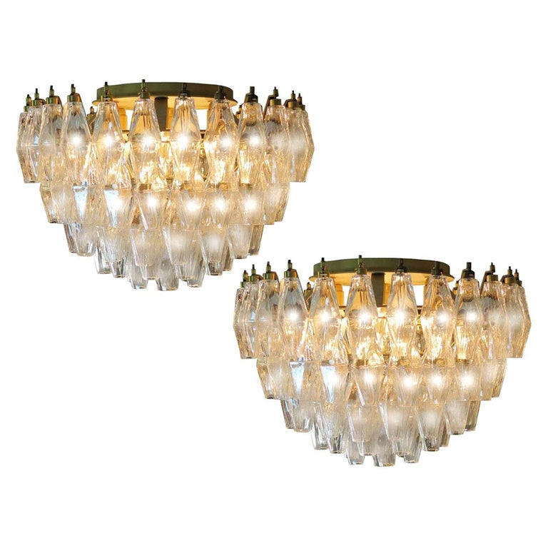 Pair of Poliedri Chandeliers, Murano For Sale