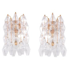 Pair of Poliedri Wall Sconces Murano Glass & Gold Plated Brass