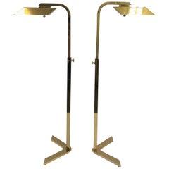Pair of Polish Brass Adjustable Floor Lamps by Charles Hollis Jones