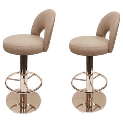 Pair of Polish Nickel and Leather Swivel Bar Stools by Charles Hollis Jones