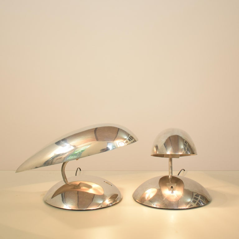 Pair of Polished Aluminium Space Age Table Lamps from the 1980s For Sale 5