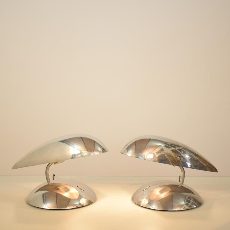 Aluminum Pair of Polished Aluminium Space Age Table Lamps from the 1980s For Sale