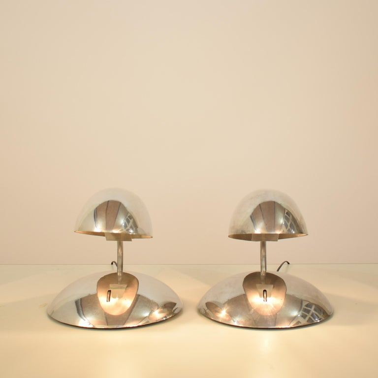 Pair of Polished Aluminium Space Age Table Lamps from the 1980s For Sale 2