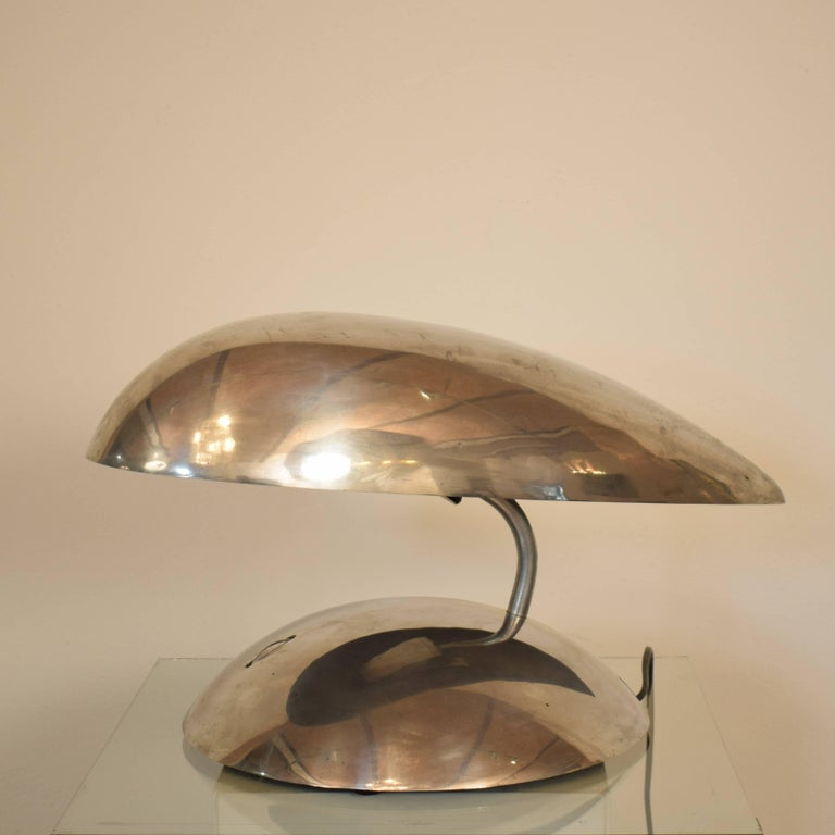 Pair of Polished Aluminium Space Age Table Lamps from the 1980s For Sale 3
