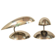 Pair of Polished Aluminium Space Age Table Lamps from the 1980s