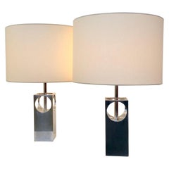 Pair of Polished Aluminium Table Lamps, circa 1970, France