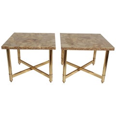 Pair of Polished Brass and Onyx End Tables, circa 1980