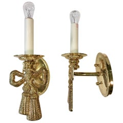 Pair of Polished Brass Bow Sconces