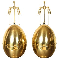 """Pair of Polished Brass """"Egg"""" Shaped Lamps"""