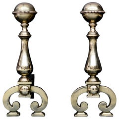 Pair of Polished Brass Firedogs with Beading to Top