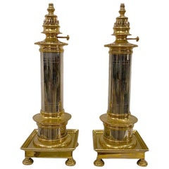 Pair of Polished Bronze and Nickel Lamps