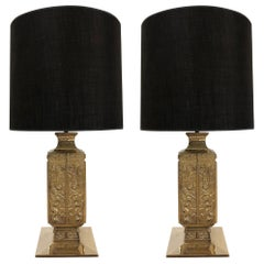 Pair of Polished Bronze Asian Lamps Style of James Mont