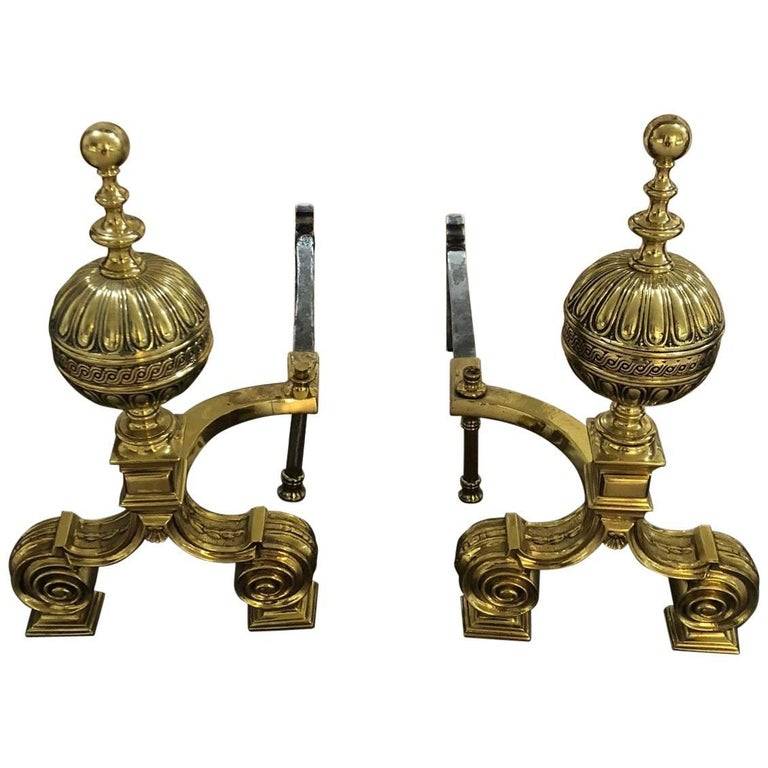 Pair of Polished Bronze English Andirons For Sale