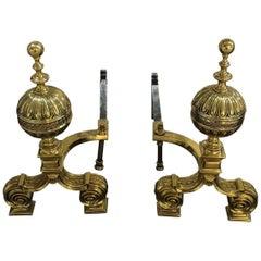 Pair of Polished Bronze English Andirons