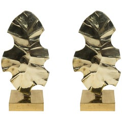 Pair of Polished Bronze Lamps by Willy Daro