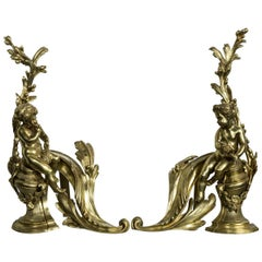 Pair of Polished Bronze Putti Chenets