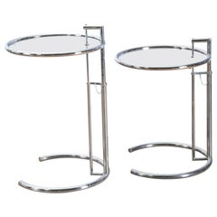 Pair of Chrome and Glass E-1027 Side Tables, In the Style of Eileen Gray