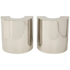 Pair of Polished Chrome Demilune Sconces