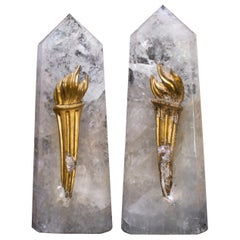 Pair of Polished Crystal Quartz Points with 18th Century Italian Torch Fragments