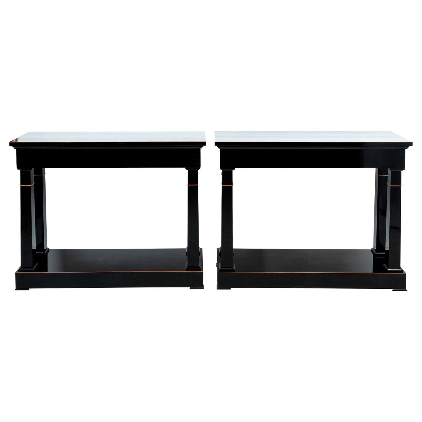 Pair of Polished Ebony Console Table