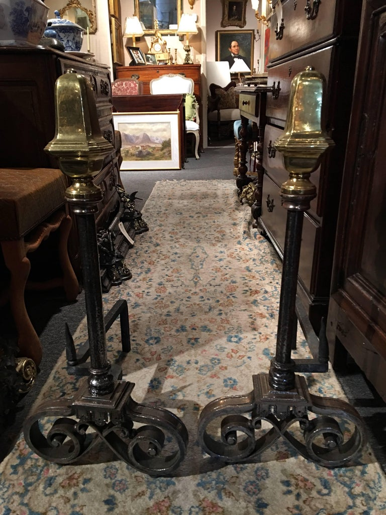 Pair of Polished Iron and Brass Chenets or Andirons, 19th Century For Sale 2