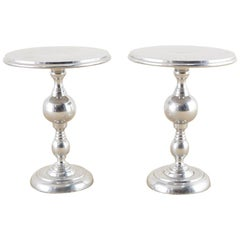 Pair of Polished Metal Round Pedestal Drink Tables